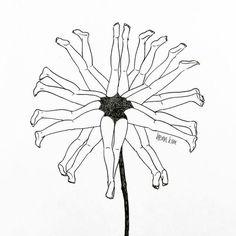 Henn Kim Outline Drawings, Easy Drawings, Henn Kim, Composition Art, Organic Art, Arte Sketchbook, Diy Art Projects, Black And White Illustration, Art Pictures