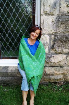 Blue and Green Summer Felted Wool Shawl Gift by elenasfelting, $85.00