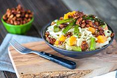 Heart of Palm, Jicama & Asparagus Cabbage Salad with Tangerines & Maple Sriracha Pecans » Keepin It Kind