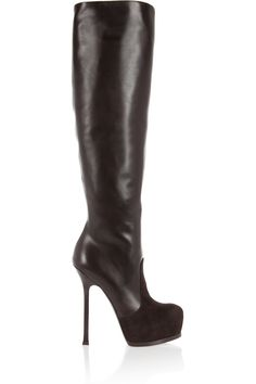 Yves Saint Laurent  Tribtoo leather and suede knee boots