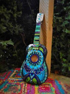 SOLD Mosaic Guitar / Ukulele by MosaicsAndMerlot on Etsy