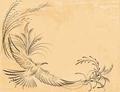 Old Fashioned Victorian Calligraphy Bird Line Drawing