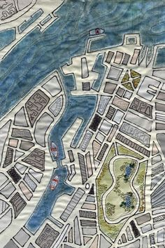 Birkenhead Docks map art quilt by Mary Bryning