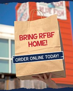 Too cold to get out? Just want to relax after work? Order #RFBF online, then pick it up and eat it from the comfort of your couch. 🛋️ Red Fish Blue Fish, White Sand Beach, Outdoor Dining, Paper Shopping Bag, The Good Place, Relax, Couch, Photo And Video, Al Fresco Dinner