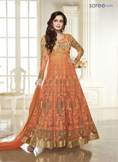 ORANGE NET ANARKALI SUIT WITH EMBROIDERY WORK