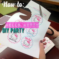 DIY the HOW TO for this Darling Party Printable .. Hello Kitty Birthday .. Cute! cupcake toppers, cupcake wrappers, water bottle labels, bunting banner, table tent cards, and tags