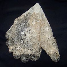 silk Irish bridal hanky handmade bobbin lace 1910 by pinehaven2, $75.00