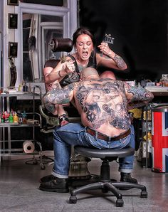 crazy woman tattooing