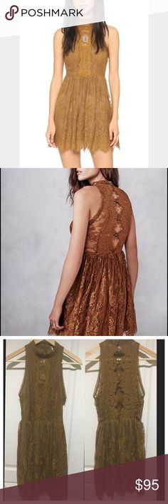 """Free people Verushka lace mini dress Beautiful brown color with delicate lace material. Approximate measurements: bust 31"""" waist 28"""" length 33"""". No rips no stains no defects. Only worn once. Perfect transition piece for the fall. Free People Dresses Mini"""