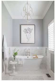 Costal Bathroom, Master Bathroom, Bathtub Tile Surround, Standing Bathtub, Bathroom Chandelier, Bathtub Decor, Bath Remodel, Bathroom Inspiration, Bathroom Ideas