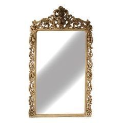 Kathy Kuo Home Estelle Large Rococo Ornate Carved Wood Hall Salon Mirror Ornate Mirror, Wood Mirror, Mirror Mirror, Floor Mirrors, Wax Finish On Wood, Salon Mirrors, Handmade Mirrors, Decorative Mirrors, Wood Glass