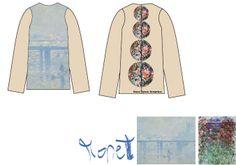 """Diseño de Sol Domínguez Sánchez-Beato inspirado en las obras de Claude Monet  """"La casa entre las rosas"""" http://www.museothyssen.org/thyssen/ficha_obra/688 y """"El puente de Charing Cross"""" http://www.museothyssen.org/thyssen/ficha_obra/677 #CamisetasThyssen"""