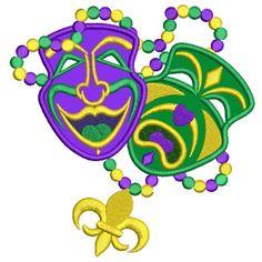Two Masks Mardi Gras Applique Machine Embroidery Digitized Design Pattern