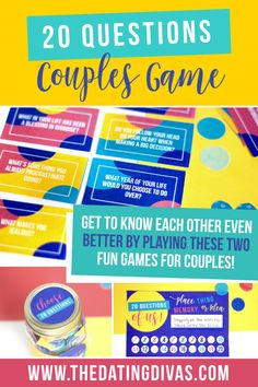 Plan a simple and free date night using these 20 Questions for Couples Games! Plan a simple and free date night using these 20 Questions for Couples Games! Date Night Games, Couples Game Night, Date Night Ideas For Married Couples, Romantic Date Night Ideas, Romantic Dates, Fun Couple Games, Question Games For Couples, Intimate Questions For Couples, Couple Activities