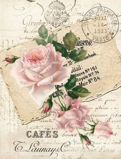 Vintage Pink Rose Graphic Image Art Fabric Block Doodaba - Offers a cotton fabric block that can be used for sewing, quilting, framing, tote bags, wall hangin - Vintage Labels, Vintage Ephemera, Vintage Cards, Vintage Paper, Vintage Postcards, Decoupage Vintage, Decoupage Dresser, Vintage Pink, Vintage Flowers