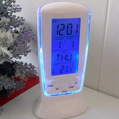 LED Digital LCD Alarm Clock Calendar Thermometer With Blue Backlight Desk Clock - Blue LED backlight. LCD clock with calendar, digital thermometer. Alarm with music, snooze function. 7 different alarm songs and 2 different didi sounds. Projection Alarm Clock, Led Wall Clock, Radio Alarm Clock, Vitamine B17, Style Bleu, Bedside Clock, Desktop Clock, White Clocks, Cool Clocks