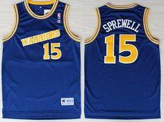 ... Golden State Warriors 15 Latrell Sprewell 1988-89 Blue Swingman  Throwback Jersey NBA ... a8a33dd0d