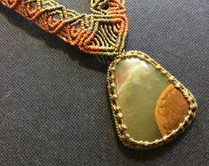 Green Onyx Macrame Necklace handmade with от PapachoCreations