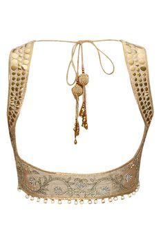 Gold net and crepe designer sari – Panache Haute Couture Mehr