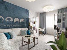 Sárga-szürke konyha, változatos faldekoráció - 81m2-es háromszobás új építésű lakás lakberendezése