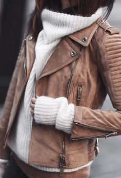 turtle neck sweater with brown leather jacket