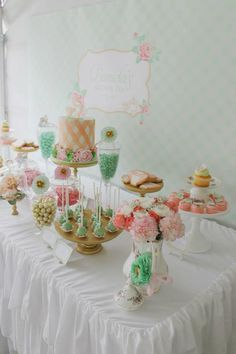 Mint Pink Gold Tea Party Planning Ideas Supplies Idea Cake Decorations