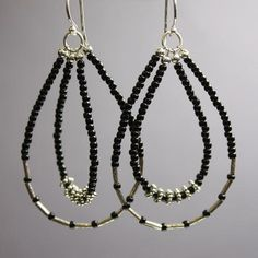 Black Seed Bead Earrings with Tribe Hill Sterling Silver Accents
