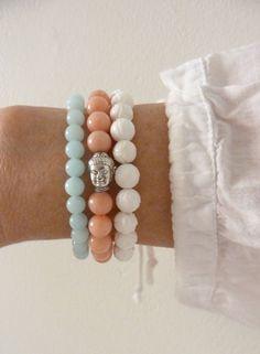 yoga bracelets  buddha bracelet  shell by yogabytheseadesigns