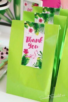 Check out this awesome idea for party favor bags at a Flamingo Birthday Party! See more party ideas and share yours at CatchMyParty.com #flamingo #partyfavor