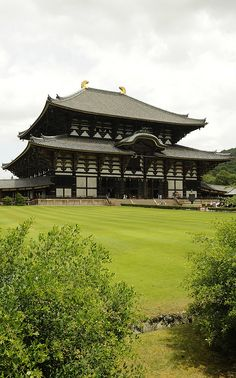 Todai-ji, Nara, Japan. The largest wooden structure in the world that doesn't have a single nail. Only dovetail connections