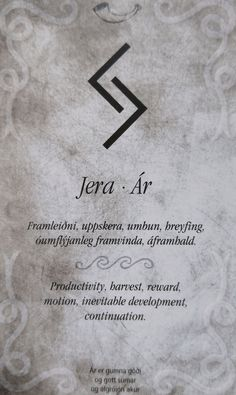 """Futhark: Rune Magic 101 - Jera/ár (J/j Y/y) - - """"No harvest is had without the seed first being sown."""" -Saga Ólafs Trygvasonar Konungs ch 8 Literal Meaning & History If you say the word out loud you can hear it's meaning, same as with the last. Bild Tattoos, Cute Tattoos, New Tattoos, Small Tattoos, Tattoos For Guys, Tatoos, Cancer Sign Tattoos, Tatto Viking, Norse Tattoo"""