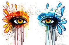 A splashy watercolor painting of beautiful eyes by German painter Svenja Jodicke