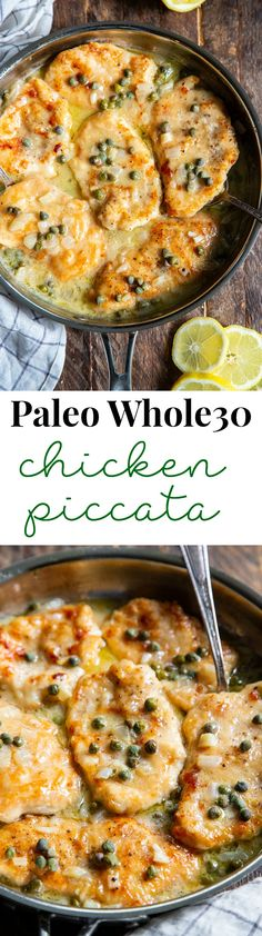 Lemon Chicken Piccata {Paleo, Keto} % This savory lemon chicken piccata is made all in one skillet and couldn't be easier! Perfect for weeknights and the leftovers save well for lunch the next day. It's gluten free, paleo, low carb and keto. Whole30 Dinner Recipes, Paleo Dinner, Paleo Meals, Paleo Whole 30, Whole 30 Recipes, Lemon Chicken Piccata, Cooking Recipes, Healthy Recipes, Freezer Recipes