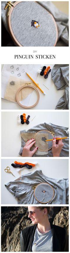 Pinguin sticken - DIY Blog lindaloves.de #EmbroideryIdeas