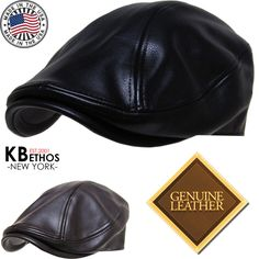 3f66153a1a3 Made in USA 100% Genuine Leather Ascot Newsboy Ivy Hat Cap Gatsby
