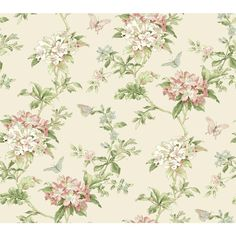 York Wallcoverings Waverly Cottage ER8217 Fawn Hill Wallpaper, Buttermilk / Pink / Chambray Blue / White / Mint - The Savvy Decorator