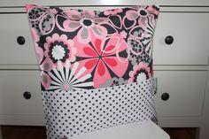 Kissen - Blumen Kissenhülle für Kissen 40 x 40 cm pink grau - ein Designerstück…