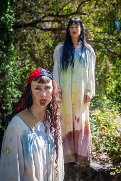 tie dye gowns, long hair, cocorosie
