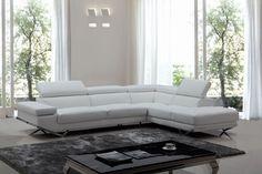 Divani Casa Quebec Modern White Eco-Leather Sectional Sofa
