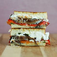 Roasted Red Pepper, Portobello Mushroom & Goat Cheese Grilled Cheese.
