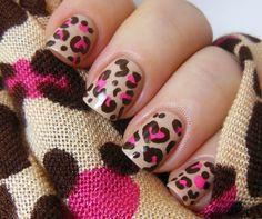 Disney leopard print nails