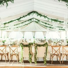 Secret Garden Wedding Tent Hanging Green Vines from Ceiling Private Estate Wedding Linens by La Tavola, Ventura Party Rentals