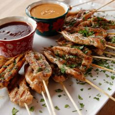 Grilled Chicken Skewers recipe from Ree Drummond via Food Network Grilled Chicken Skewers, Grilled Chicken Recipes, Grilled Pork, Shrimp Skewers, Grilled Shrimp, Kabobs, Skewer Recipes, Appetizer Recipes, Dinner Recipes