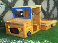 Sandpit size 1.2 x 1.2mEntire length of truck is 2mMade from Saligna timberTreated with a oil based wood preservativeThe loading zone is detachable with a clipSteering wheelFold open seat to store toysTruck with out fold open lid on loading zone is R2 400.00Truck with fold open lid on loading zone is R2 650.00Also available in DIY (for all those guilty fathers not spending enough time with the kids haha!)