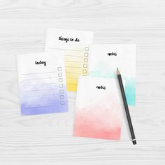 Free printable watercolour note paper in a cute mini size. Choose from 4 different designs, all on one A4 page. Print on A4 or Letter size paper.