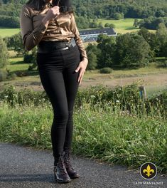 Posing in Boots and Satin Blouse  #pants #satin #blouse #gold #goldenblouse #satinblouse #goldensatinblouse #trousers #tightpants #tighttrousers #jeggings #leggings #sexypants #leather #patentleather #boots #leatherboots #patentleatherboots  --> https://LadyMania.net