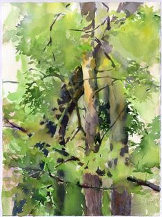 Wood watercolor painting - green forest painting by Olga Sternyk