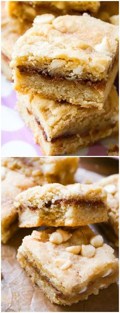 Absolutely delicious White Chocolate Snickerdoodle Blondies-- if you love cinnamon sugar, you have to try these!  (I already tried making these, and they ARE delicious.)