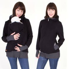 Baby carrying jacket 3 in 1 for mother + baby CHARLIE sweatshirt material // black
