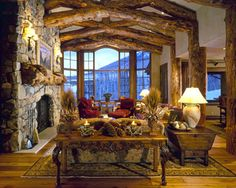 Log frame greatroom.  Love the colors and warmth of this room